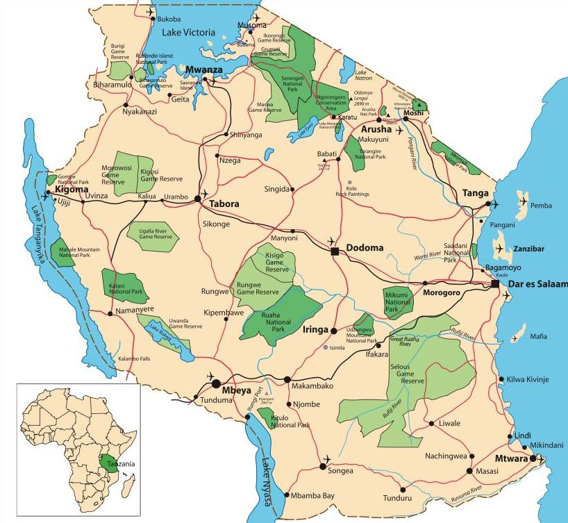 Map of Tanzania's Parks