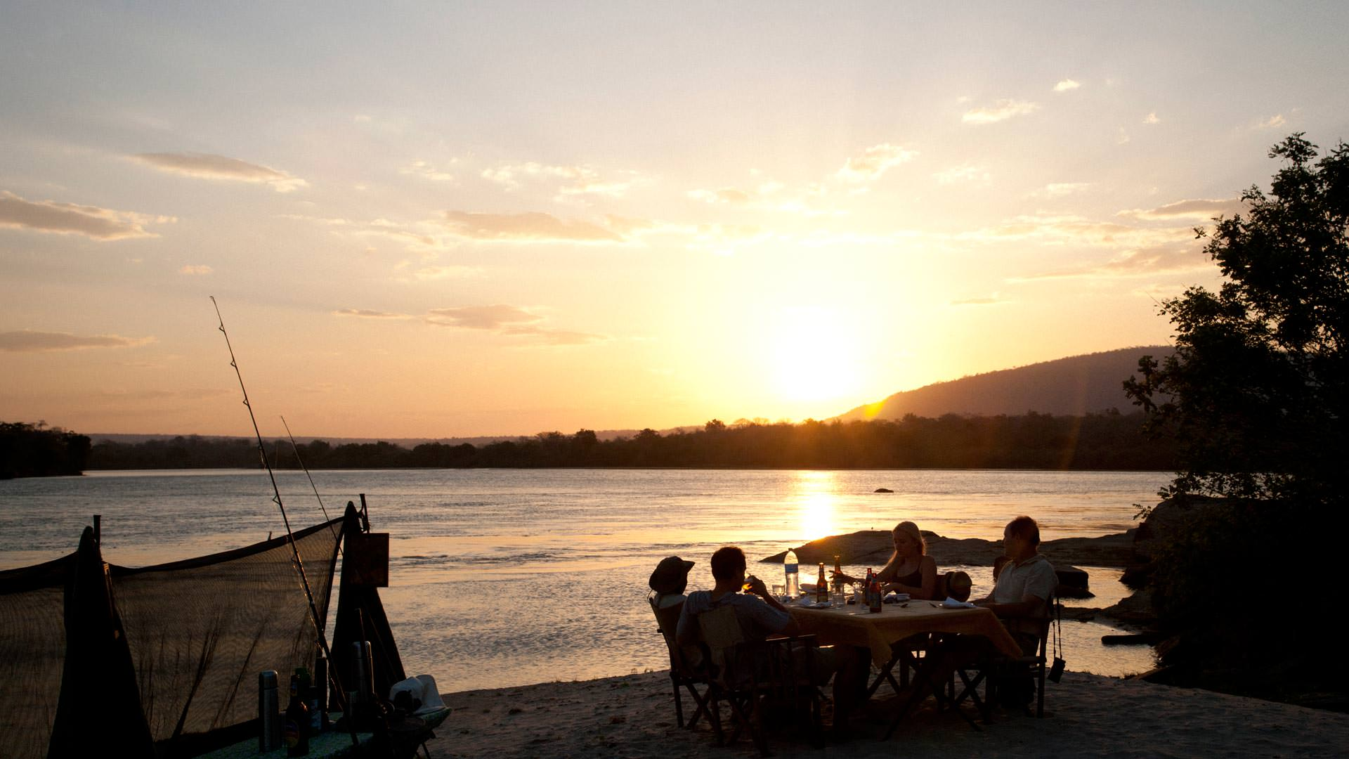 Sundowner on the banks of the Rufiji River