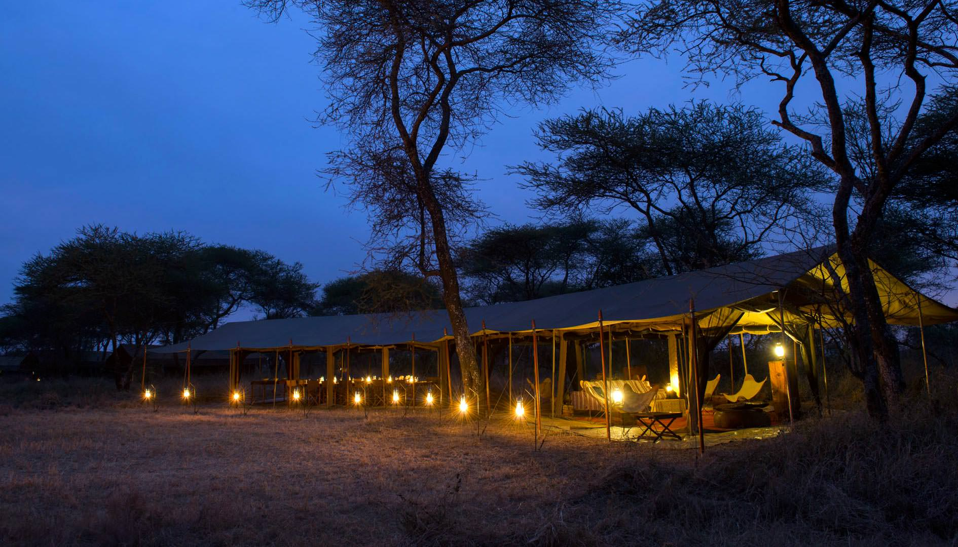 Camp at twilight