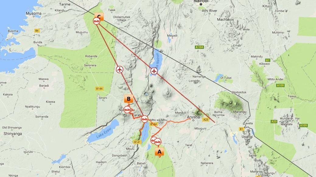 Route Map - 7 Night Northern Tanzania Safarii