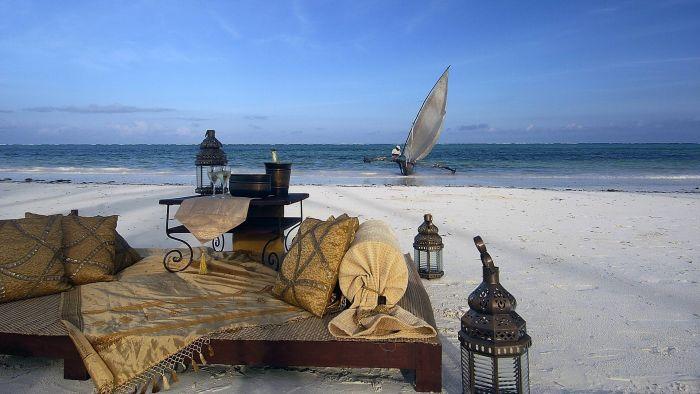 Lounge setting on the beach