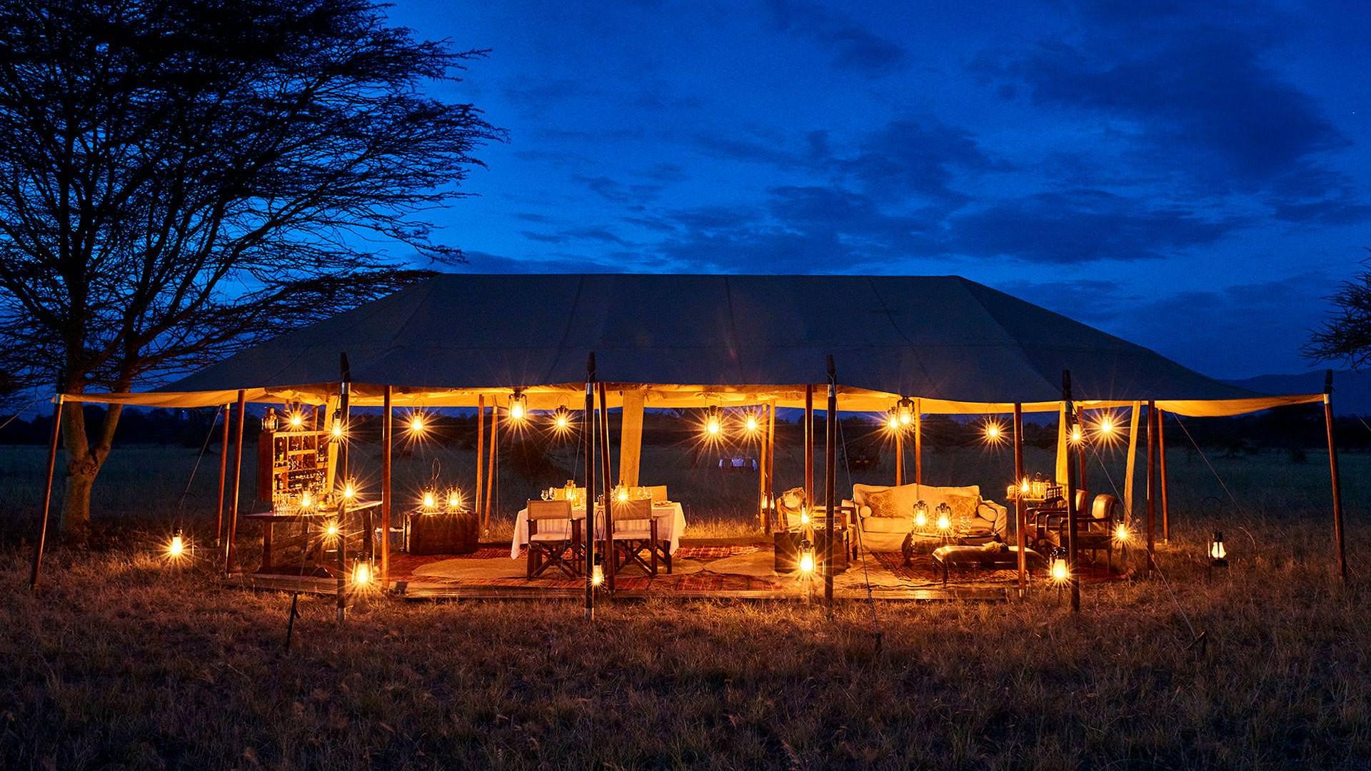 Legendary Serengeti Camp at night