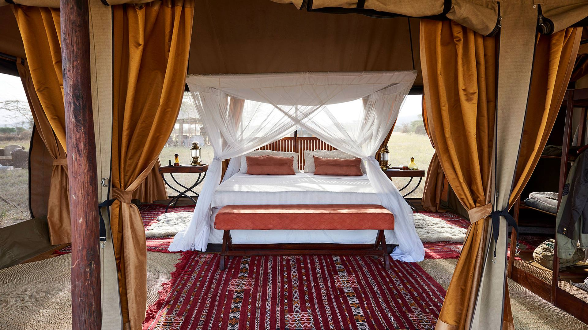 Bed in guest tent
