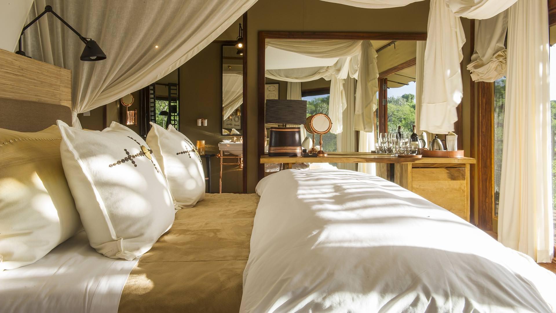 Bedroom at Mwiba Lodge