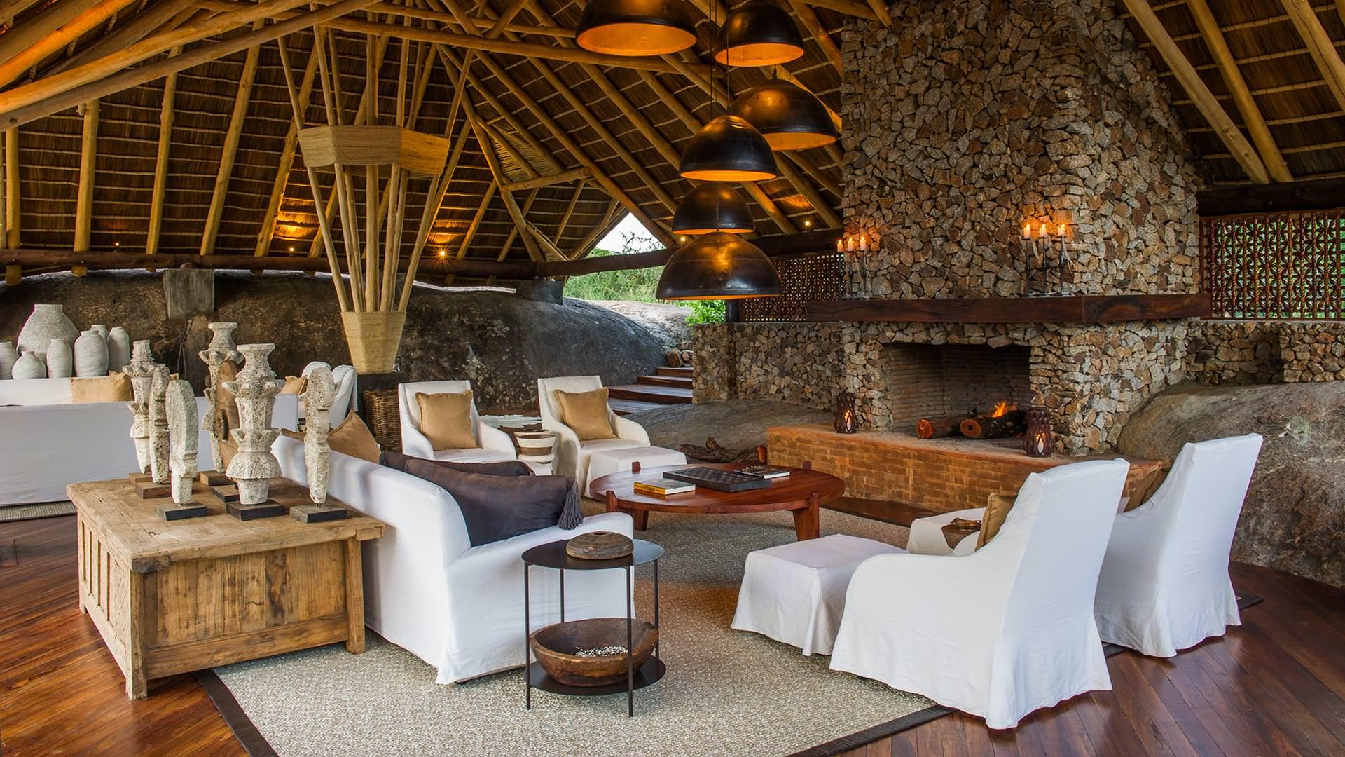 The Lounge at Mwiba Lodge