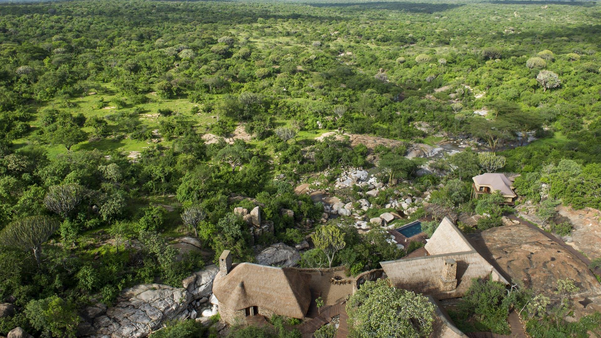 Aerial view of Mwiba Lodge
