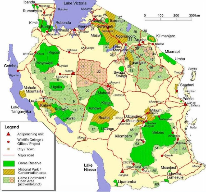 Map of Tanzania's Game Reserves