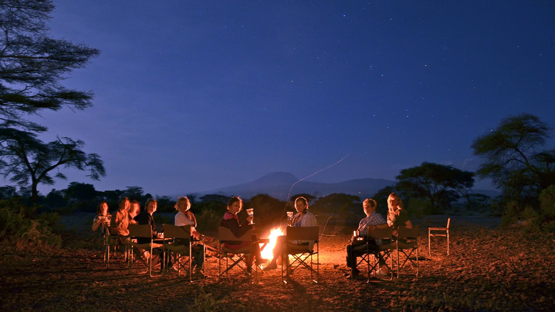 Sunset and Kilimanjaro by the fireside