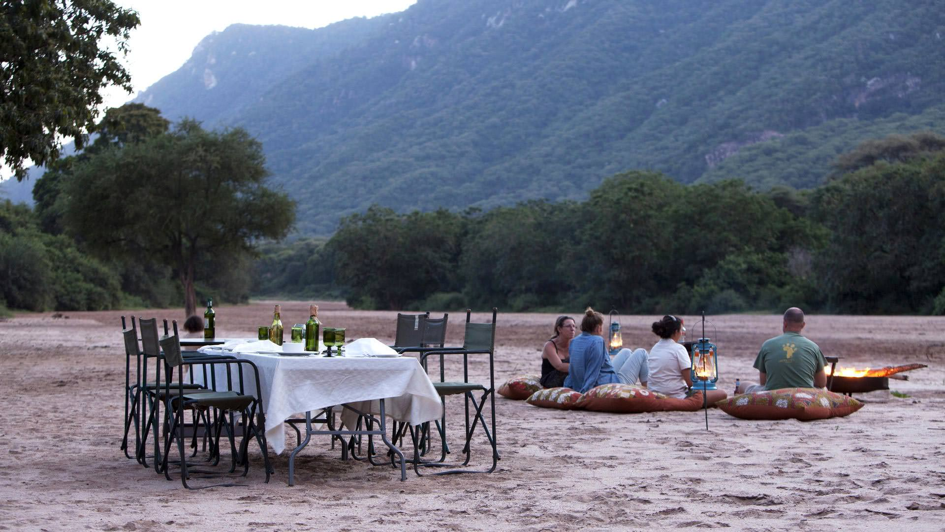 Dinner in the sand river at Manyara Green Camp