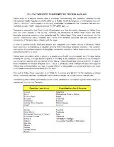 Tanzania Yellow Fever Requirements