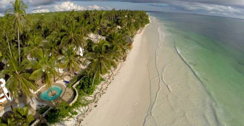 Hodi Hodi Zanzibar - aerial view looking north along the beach